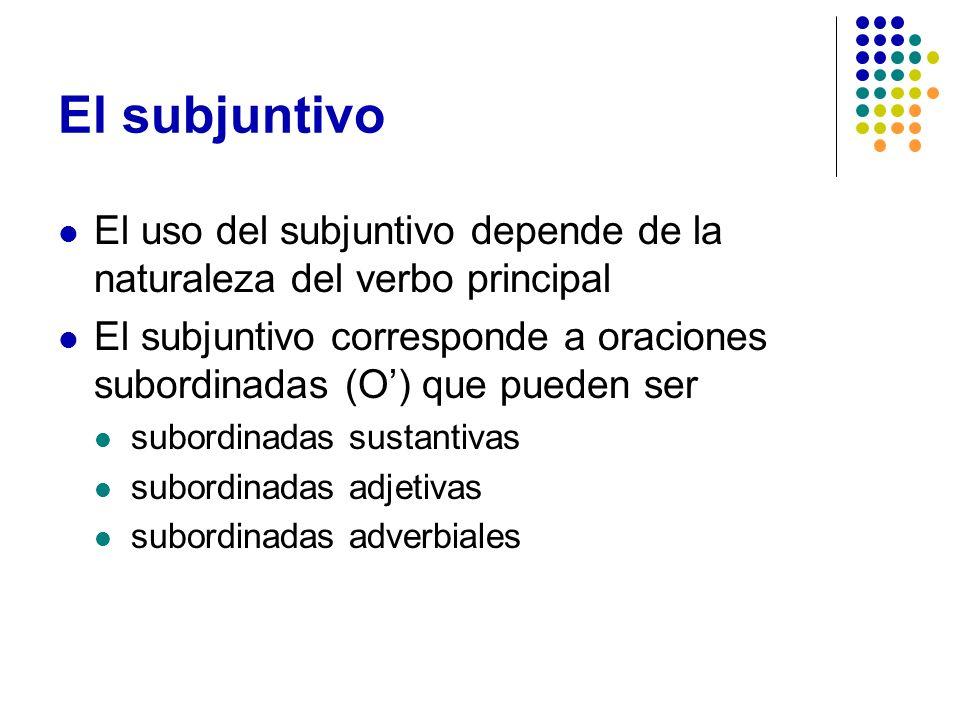 El subjuntivo El uso del subjuntivo depende de la naturaleza del verbo principal.