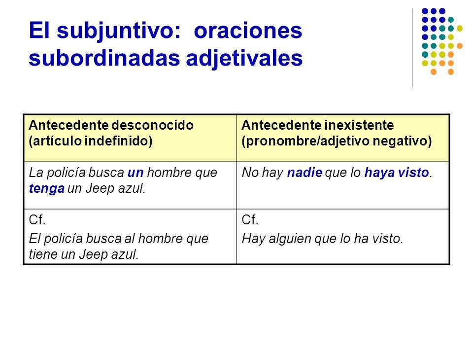 El subjuntivo: oraciones subordinadas adjetivales