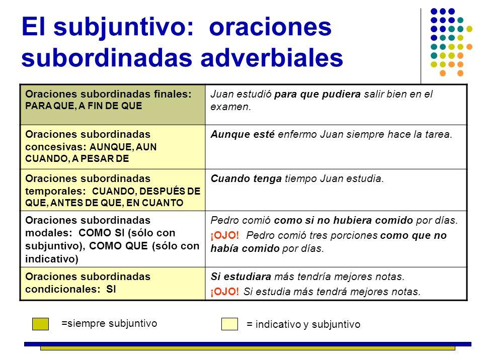 El subjuntivo: oraciones subordinadas adverbiales