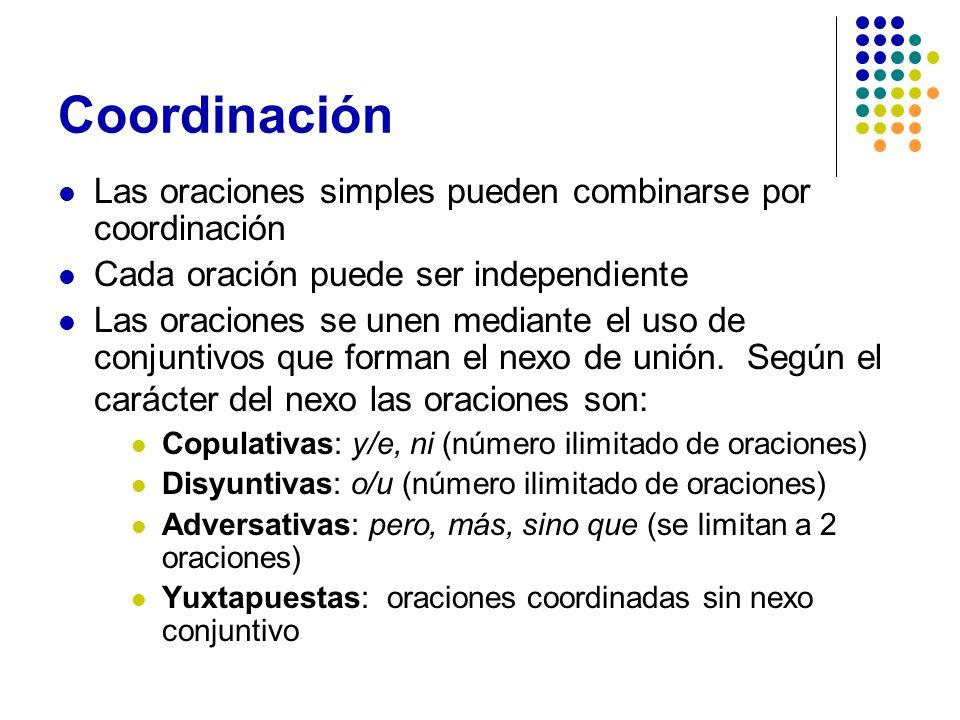 Coordinación Las oraciones simples pueden combinarse por coordinación