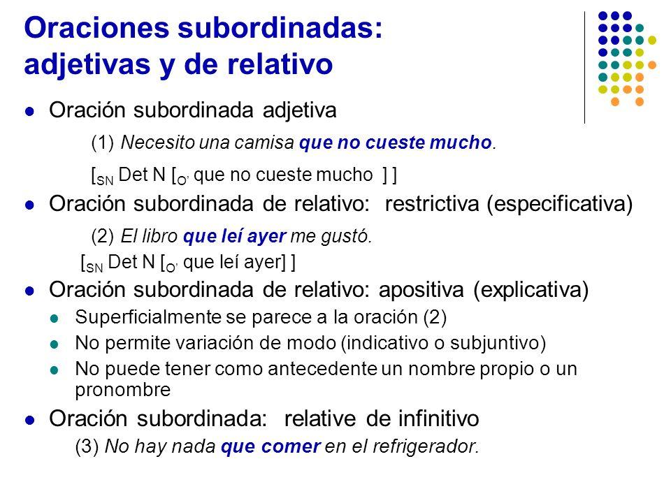 Oraciones subordinadas: adjetivas y de relativo