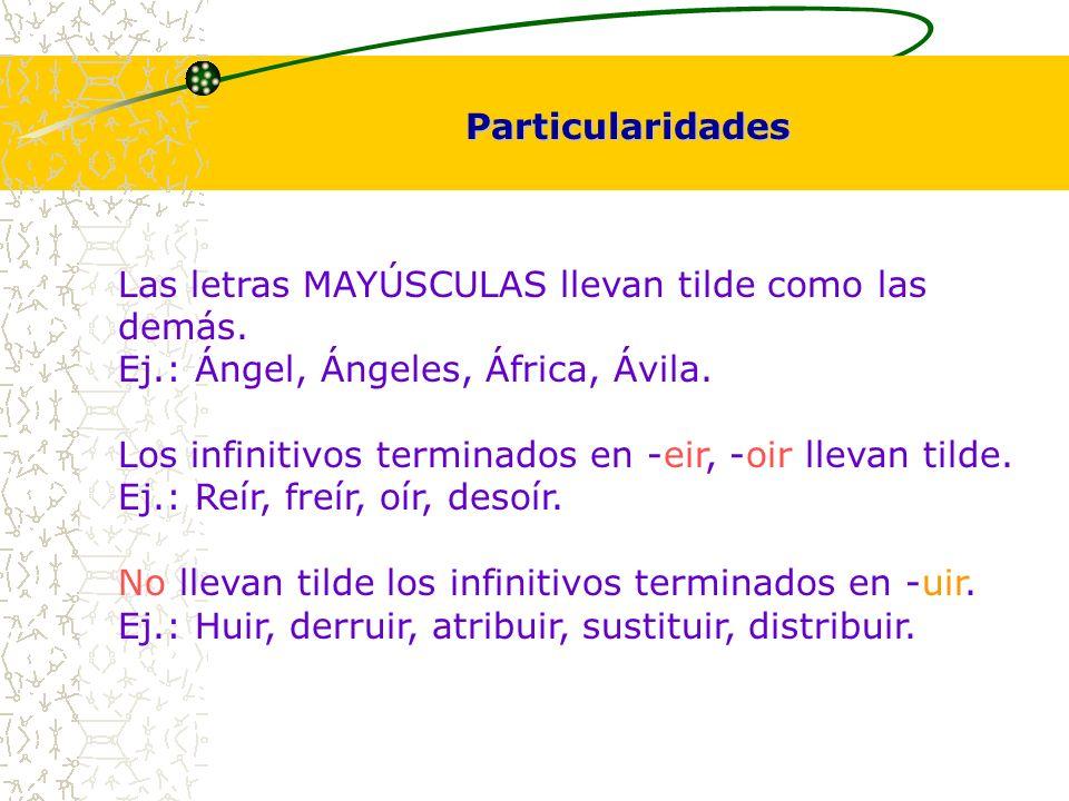 Particularidades Las letras MAYÚSCULAS llevan tilde como las demás. Ej.: Ángel, Ángeles, África, Ávila.