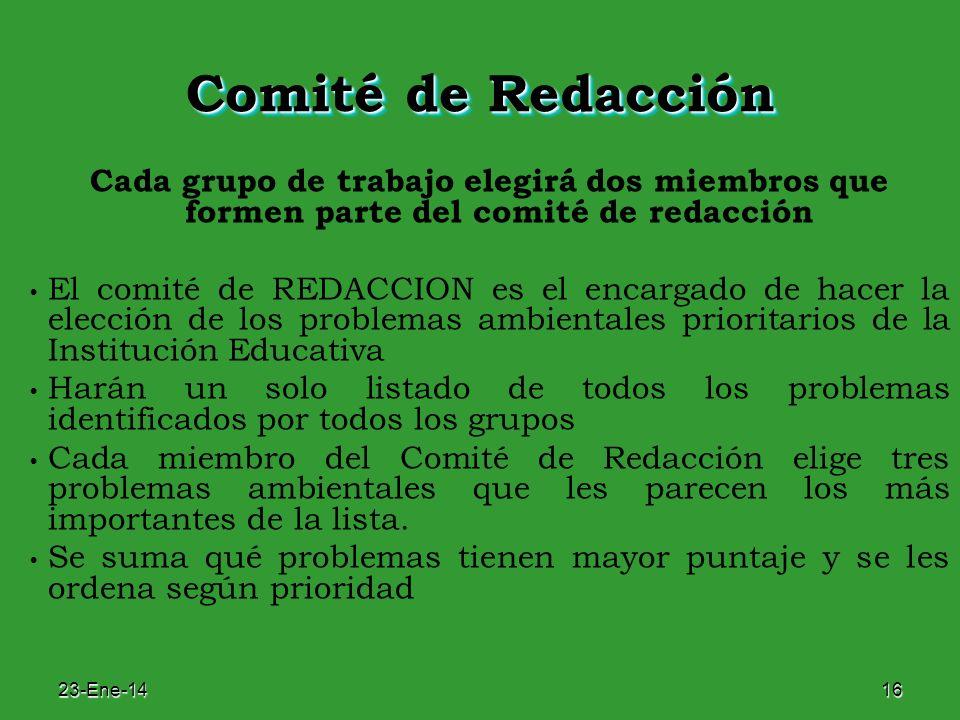 Comité de Redacción Cada grupo de trabajo elegirá dos miembros que formen parte del comité de redacción.