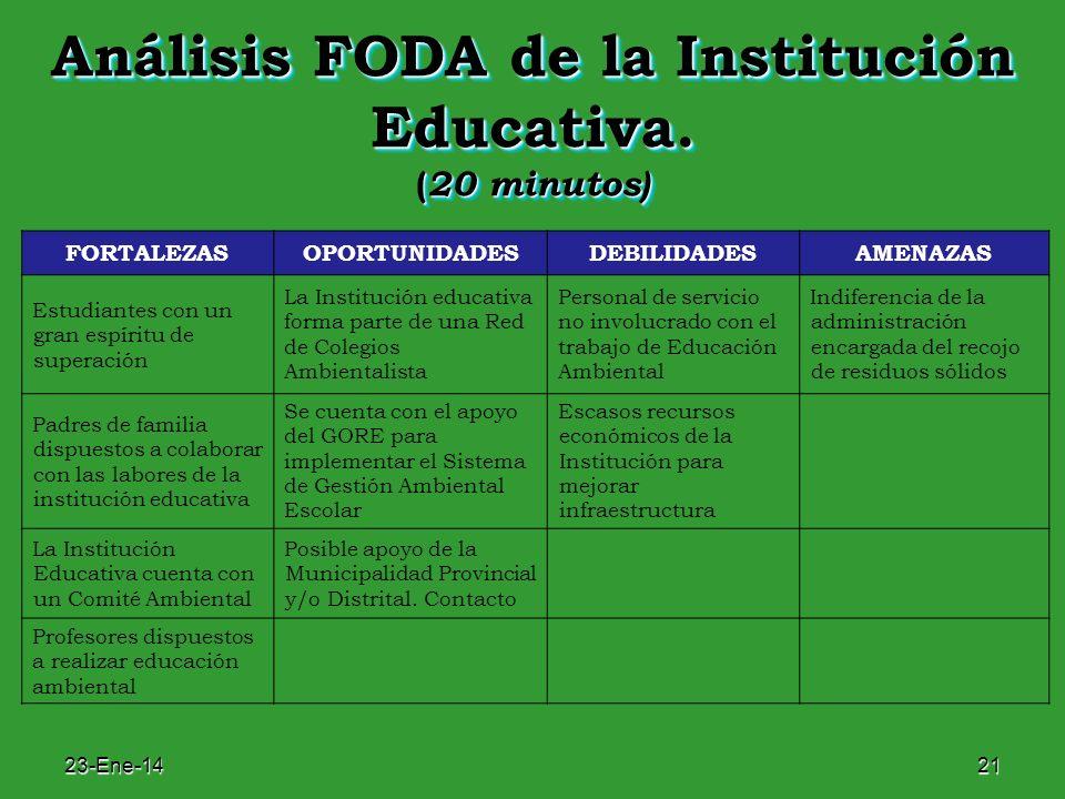 Análisis FODA de la Institución Educativa. (20 minutos)