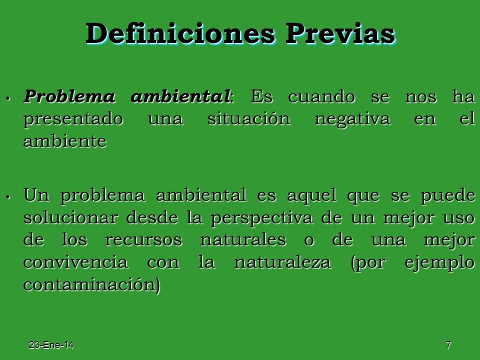Definiciones Previas Problema ambiental: Es cuando se nos ha presentado una situación negativa en el ambiente.