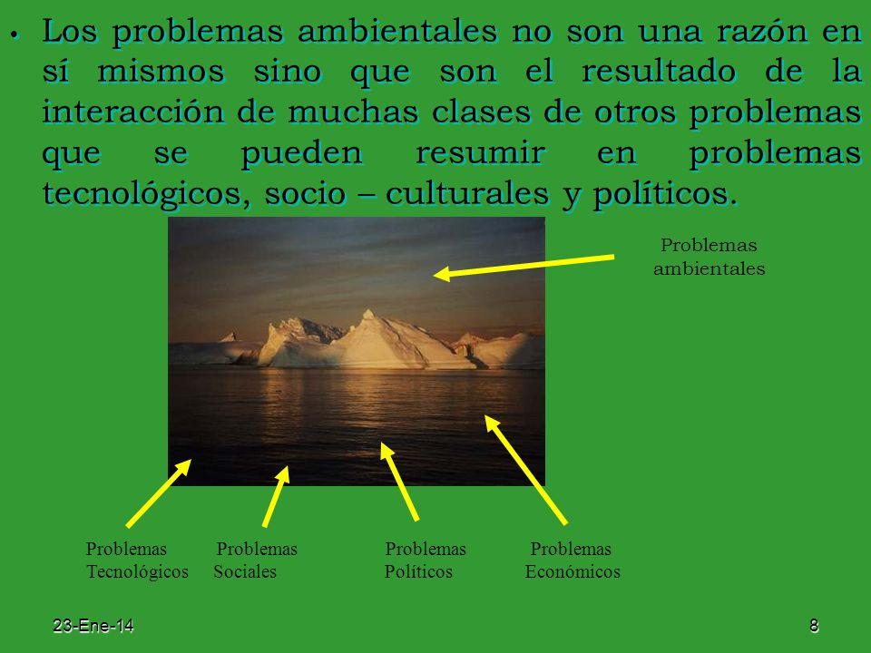 Los problemas ambientales no son una razón en sí mismos sino que son el resultado de la interacción de muchas clases de otros problemas que se pueden resumir en problemas tecnológicos, socio – culturales y políticos.