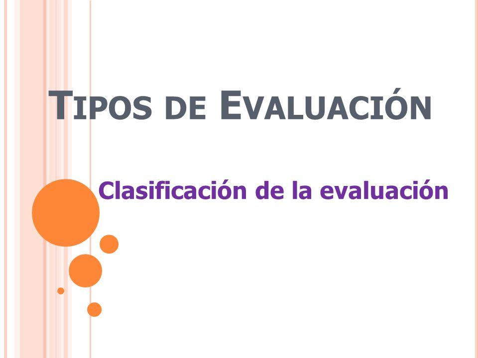 Tipos de Evaluación Clasificación de la evaluación