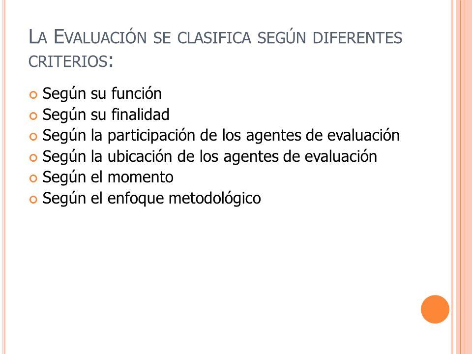 La Evaluación se clasifica según diferentes criterios: