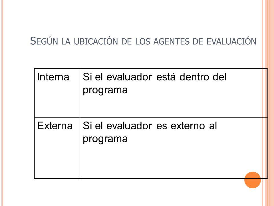 Según la ubicación de los agentes de evaluación