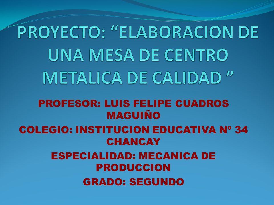 PROYECTO: ELABORACION DE UNA MESA DE CENTRO METALICA DE CALIDAD