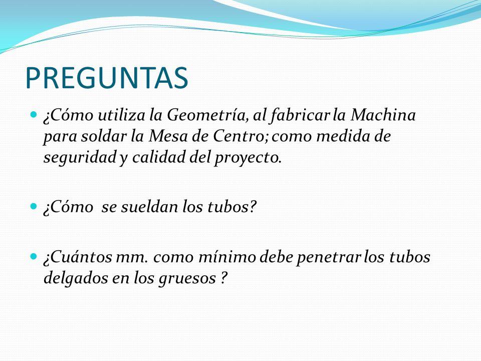 PREGUNTAS ¿Cómo utiliza la Geometría, al fabricar la Machina para soldar la Mesa de Centro; como medida de seguridad y calidad del proyecto.