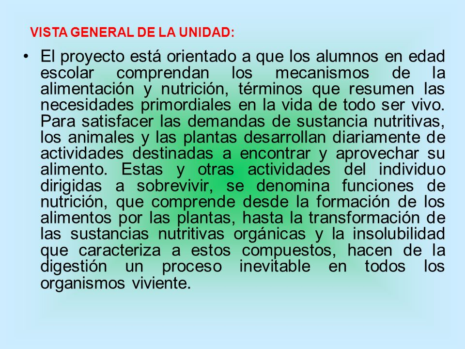 VISTA GENERAL DE LA UNIDAD: