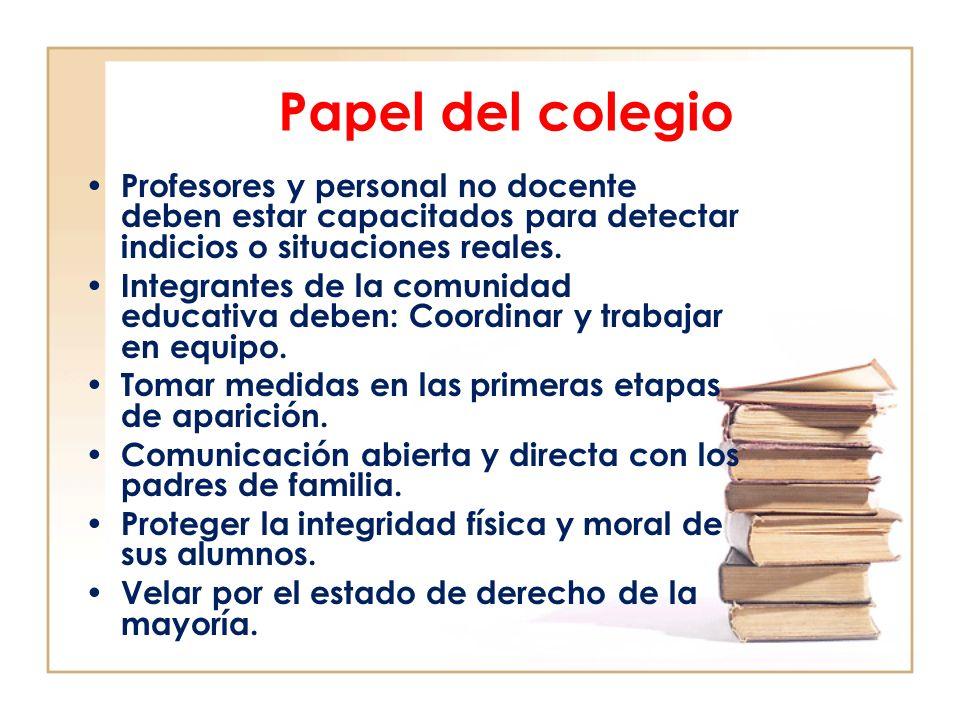 Papel del colegio Profesores y personal no docente deben estar capacitados para detectar indicios o situaciones reales.