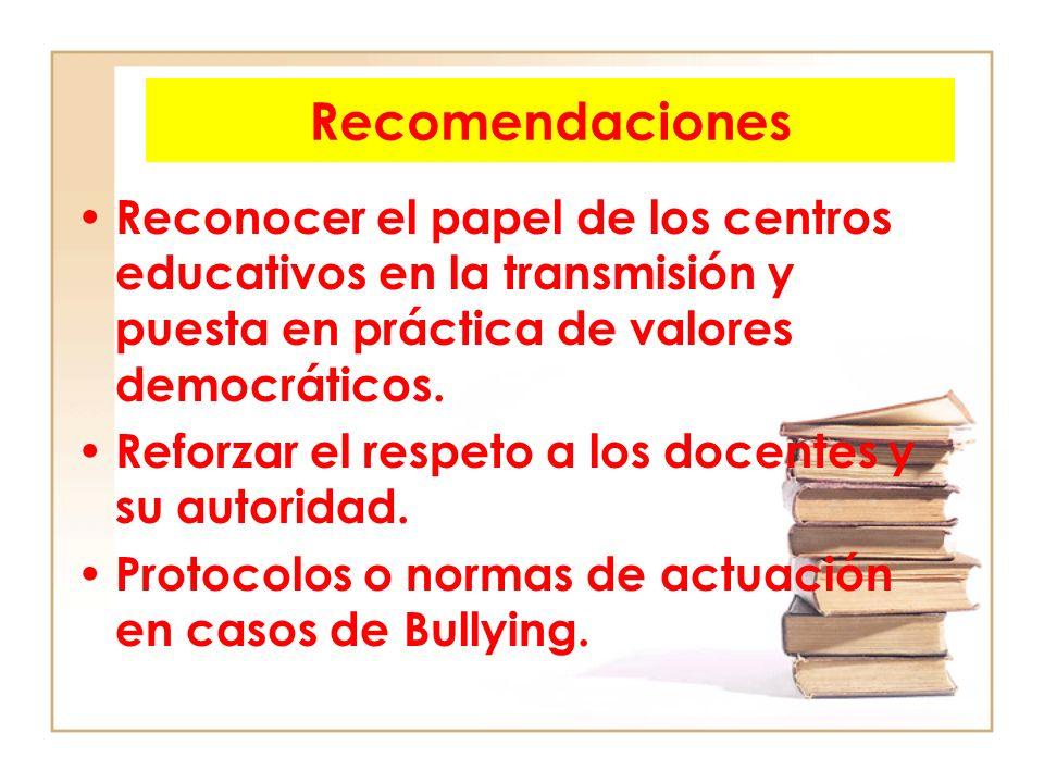 Recomendaciones Reconocer el papel de los centros educativos en la transmisión y puesta en práctica de valores democráticos.