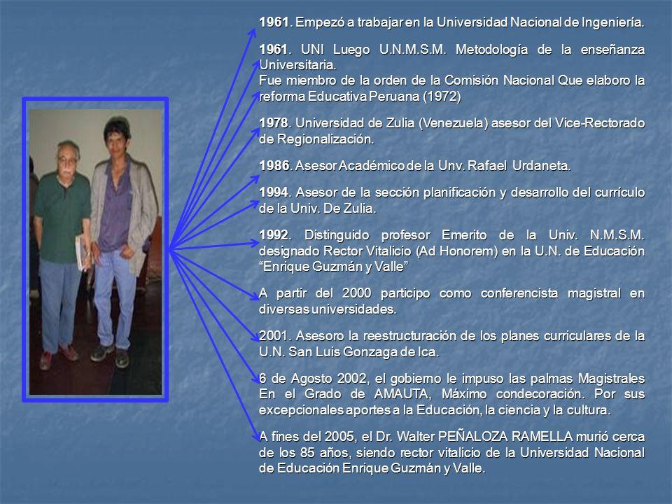 1961. Empezó a trabajar en la Universidad Nacional de Ingeniería.