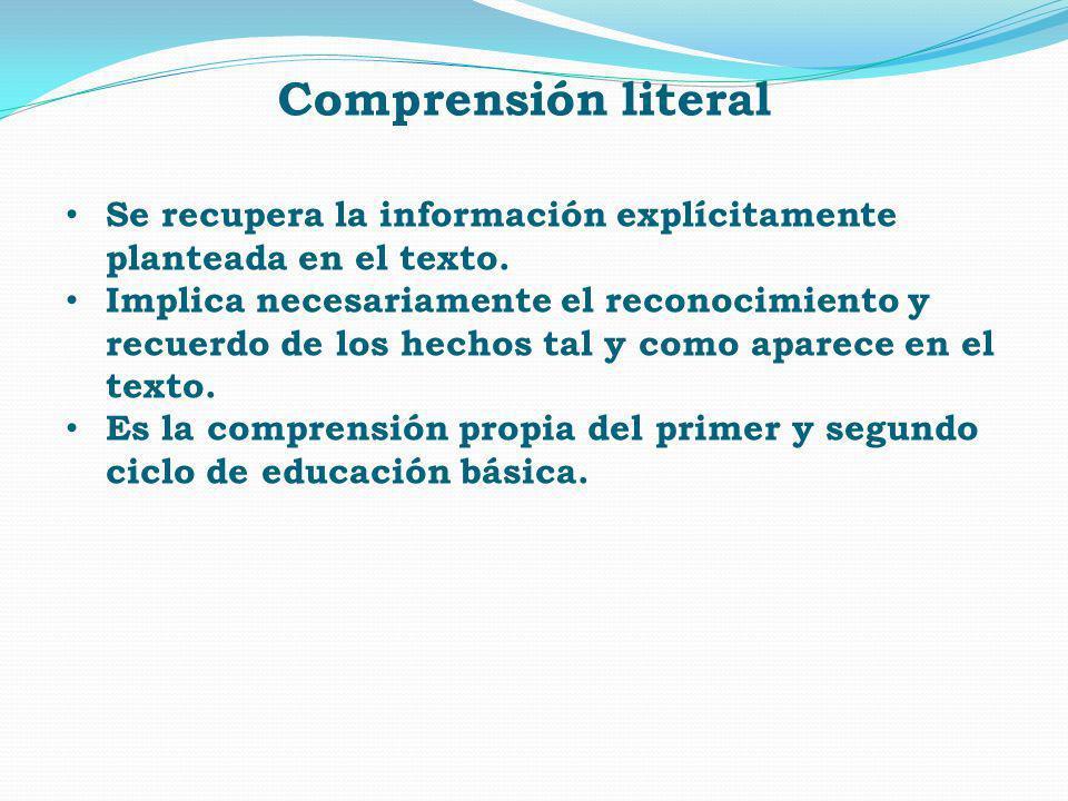 Comprensión literal Se recupera la información explícitamente planteada en el texto.