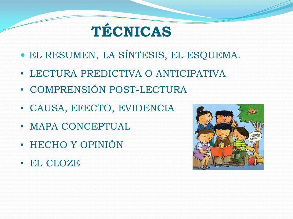 TÉCNICAS EL RESUMEN, LA SÍNTESIS, EL ESQUEMA.