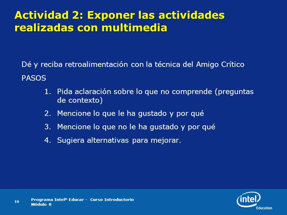 Actividad 2: Exponer las actividades realizadas con multimedia