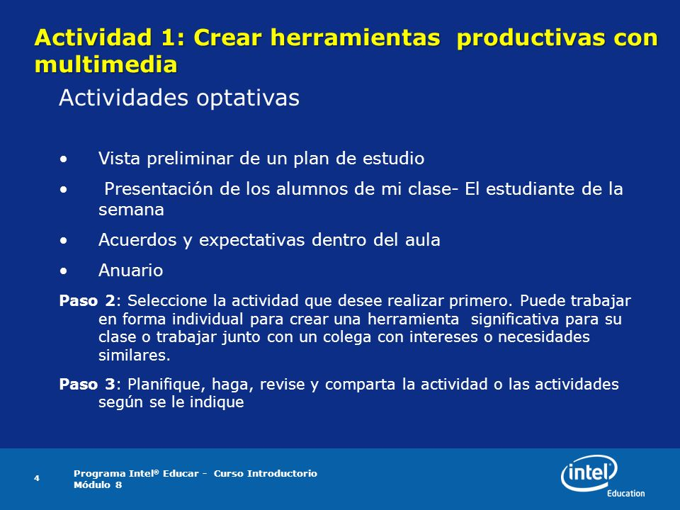 Actividad 1: Crear herramientas productivas con multimedia