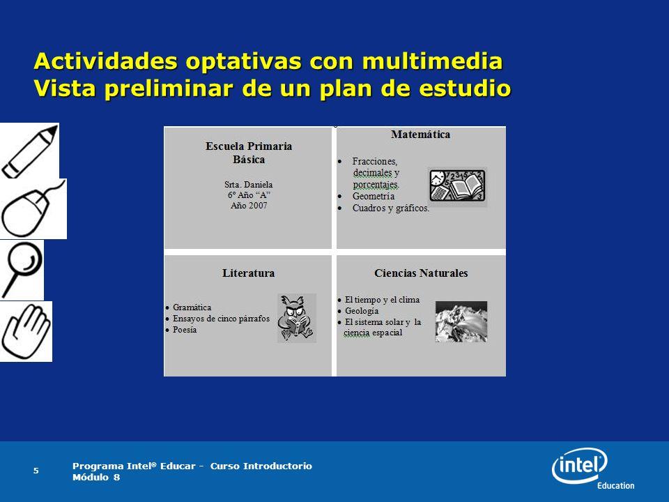 Actividades optativas con multimedia Vista preliminar de un plan de estudio