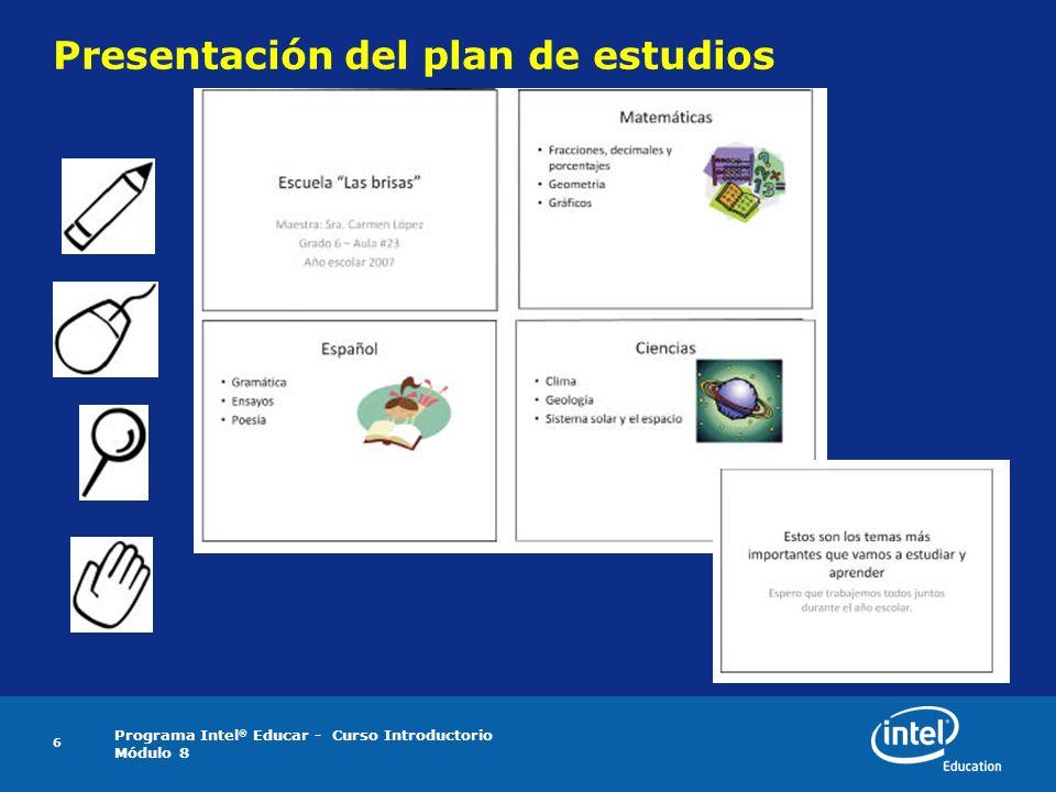 Presentación del plan de estudios