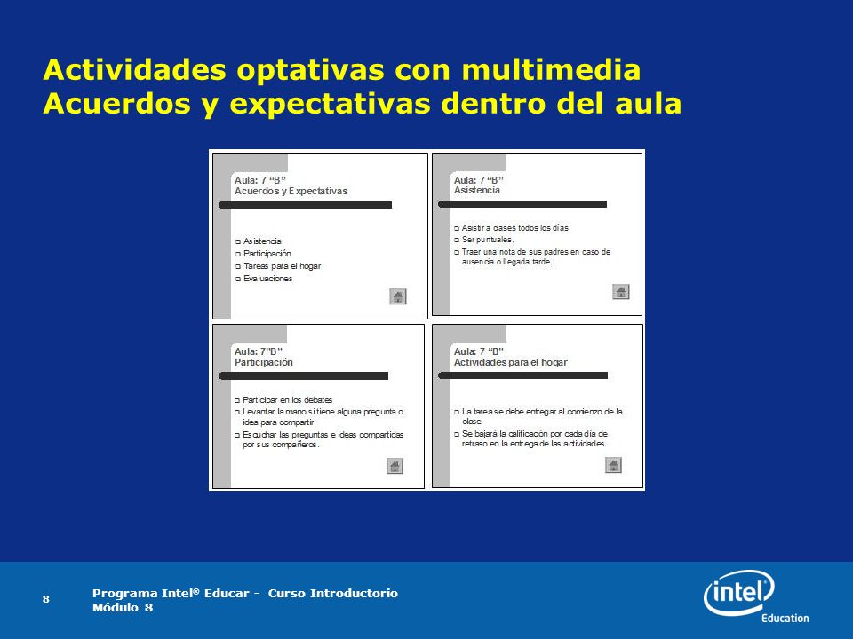 Actividades optativas con multimedia Acuerdos y expectativas dentro del aula