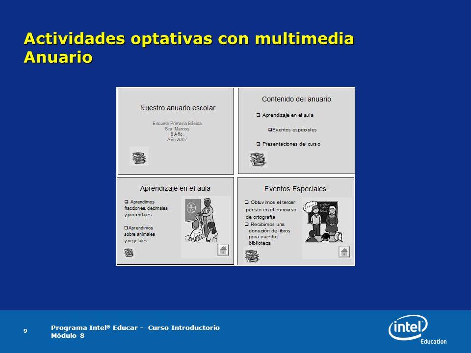 Actividades optativas con multimedia Anuario