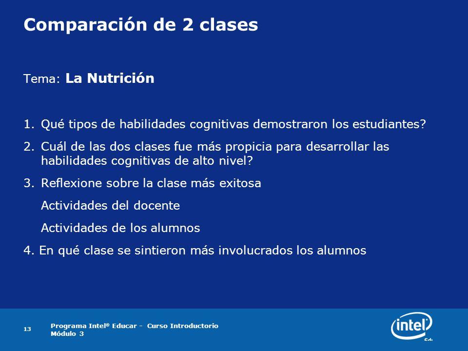Comparación de 2 clases Tema: La Nutrición