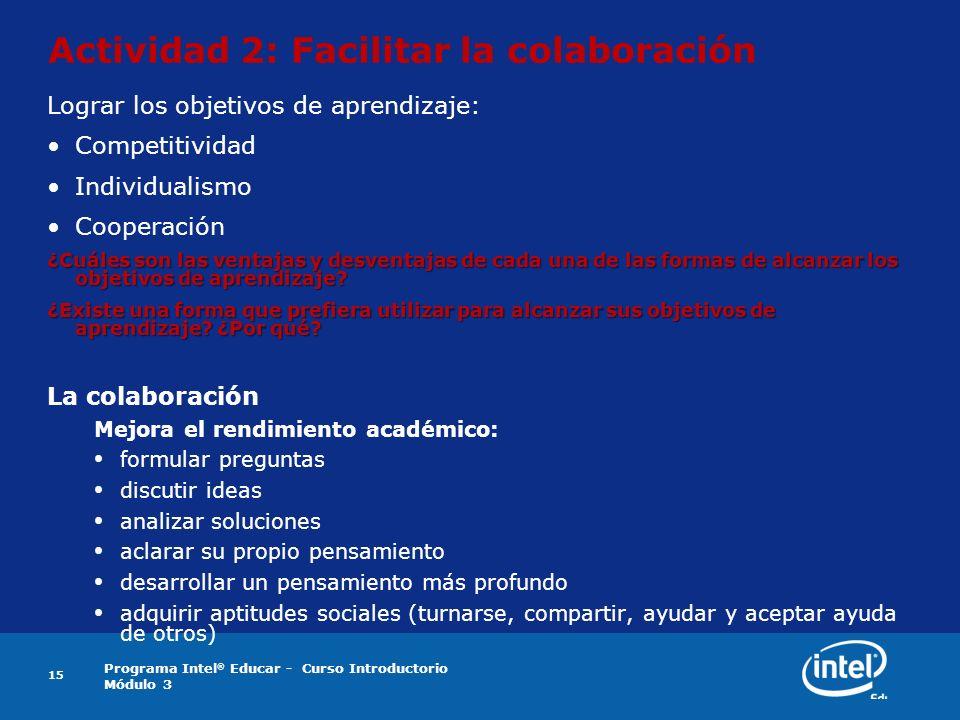 Actividad 2: Facilitar la colaboración