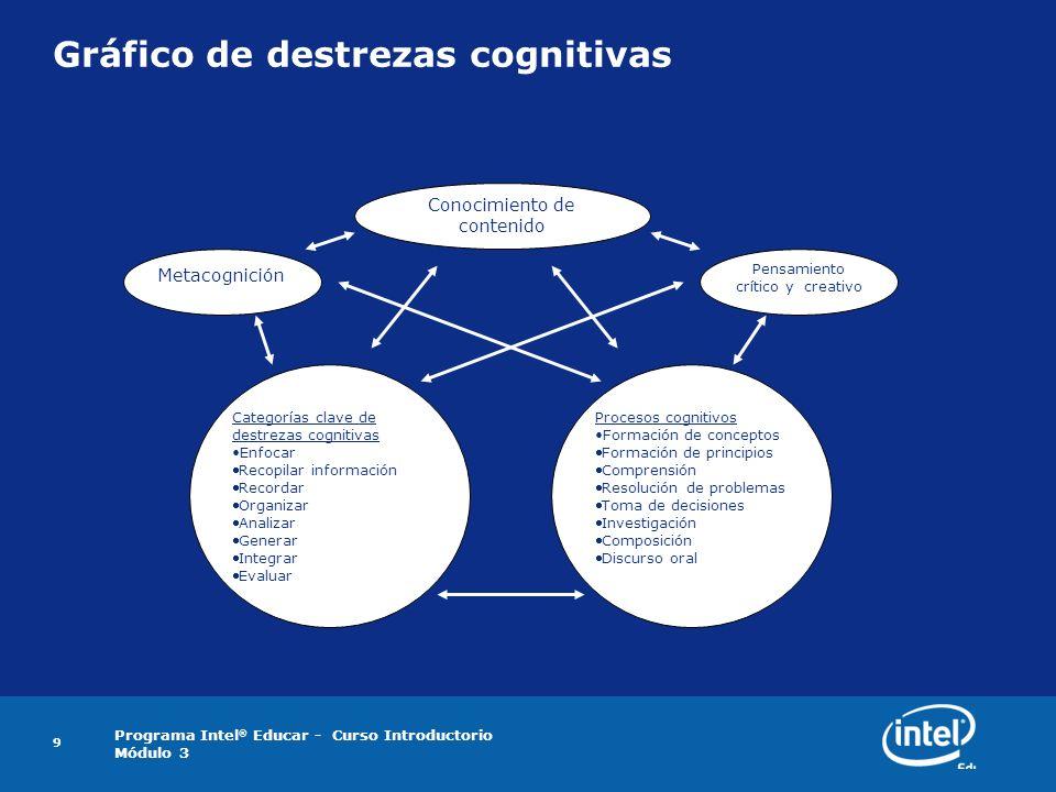 Gráfico de destrezas cognitivas