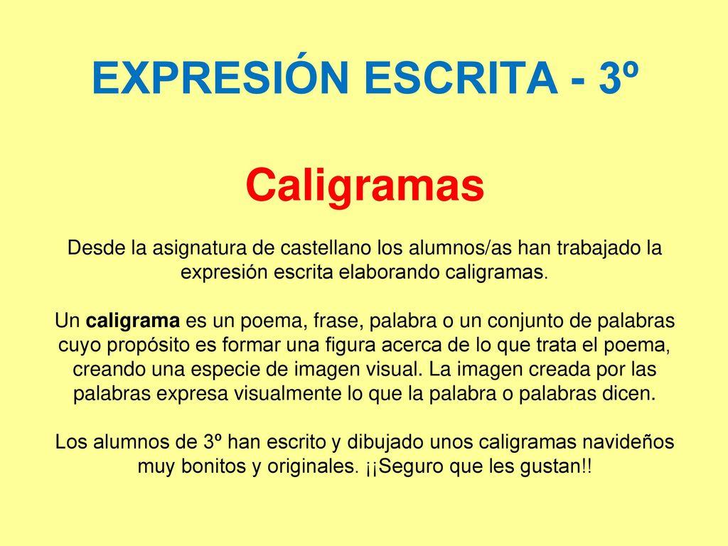 Expresión Escrita 3º Caligramas Desde La Asignatura De