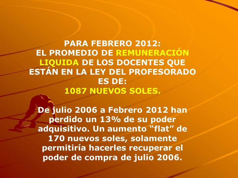 PARA FEBRERO 2012:EL PROMEDIO DE REMUNERACIÓN LIQUIDA DE LOS DOCENTES QUE ESTÁN EN LA LEY DEL PROFESORADO ES DE: