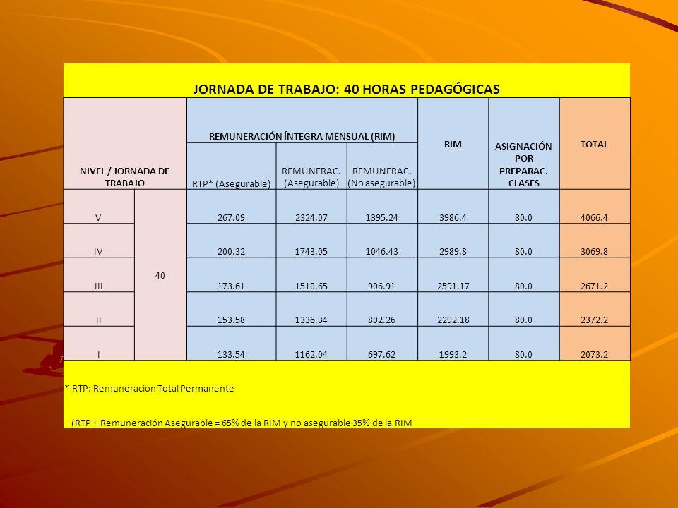 JORNADA DE TRABAJO: 40 HORAS PEDAGÓGICAS