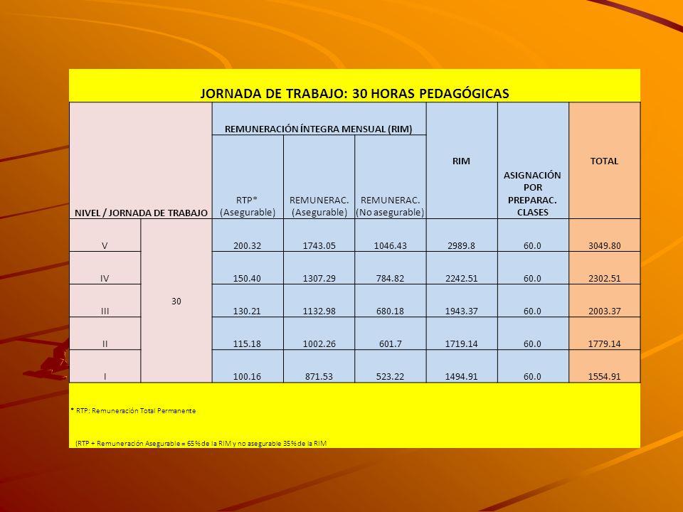 JORNADA DE TRABAJO: 30 HORAS PEDAGÓGICAS