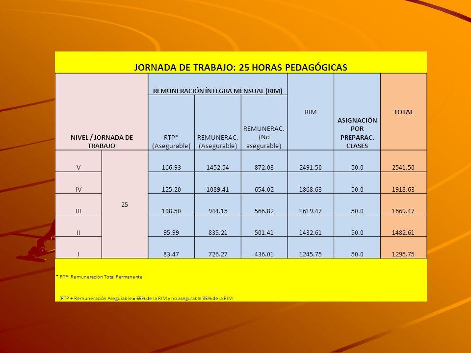 JORNADA DE TRABAJO: 25 HORAS PEDAGÓGICAS