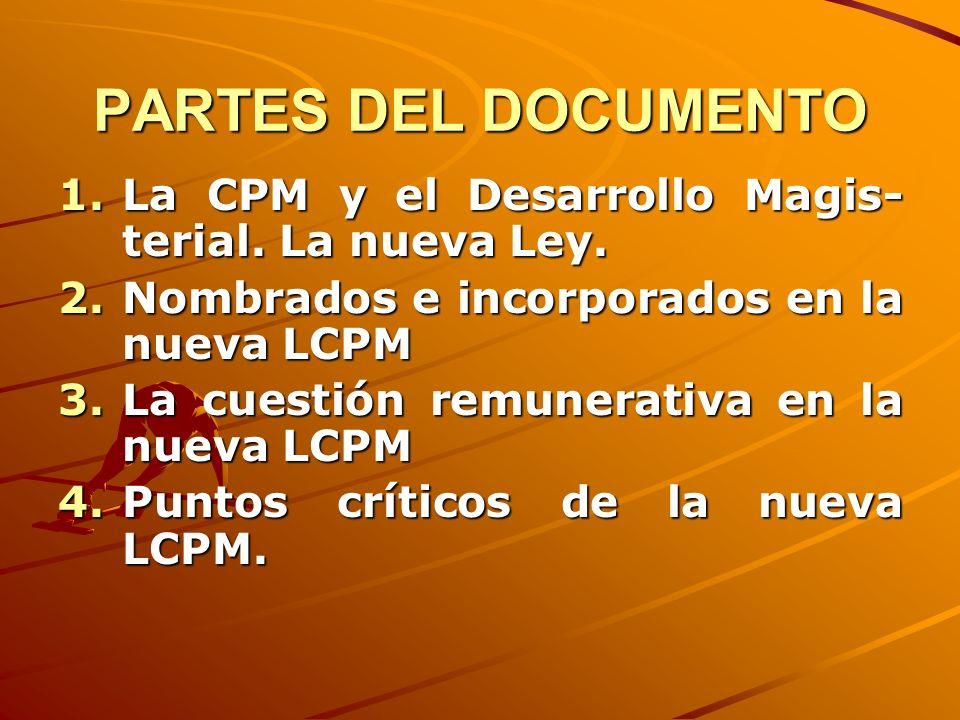 PARTES DEL DOCUMENTO La CPM y el Desarrollo Magis-terial. La nueva Ley. Nombrados e incorporados en la nueva LCPM.