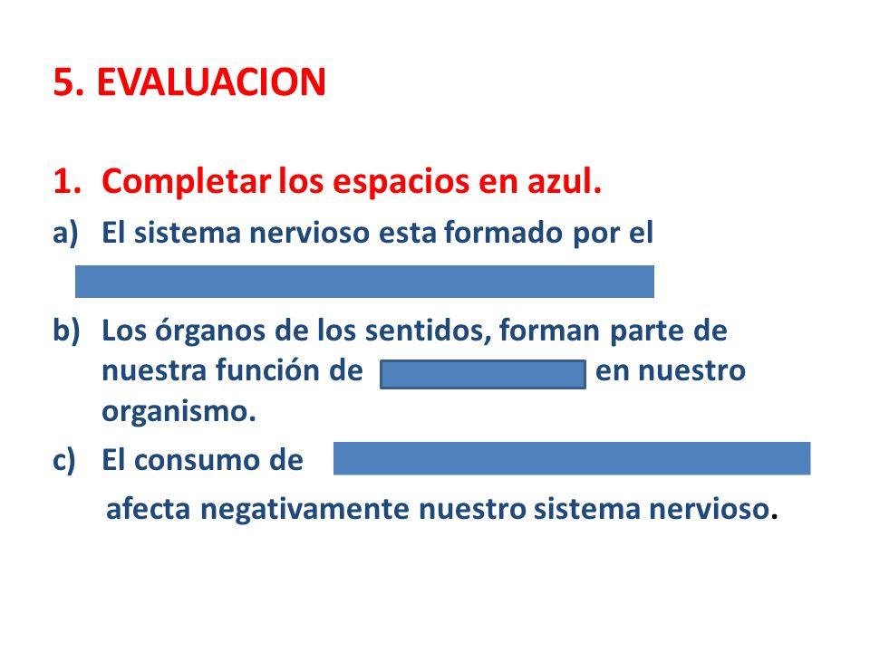5. EVALUACION Completar los espacios en azul.