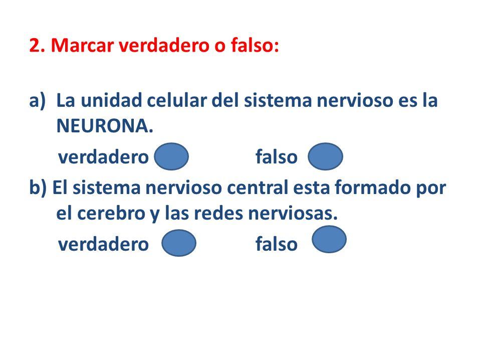 2. Marcar verdadero o falso: