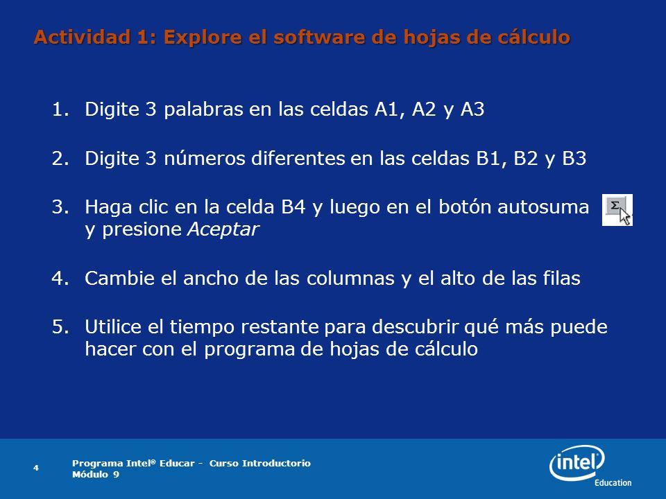 Actividad 1: Explore el software de hojas de cálculo