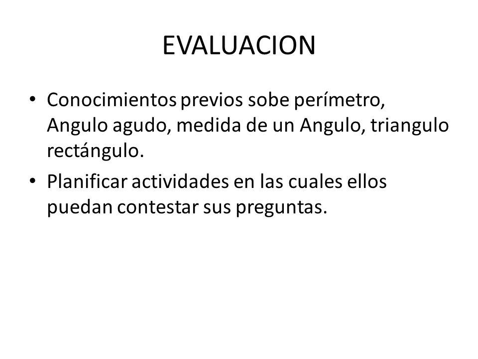 EVALUACION Conocimientos previos sobe perímetro, Angulo agudo, medida de un Angulo, triangulo rectángulo.