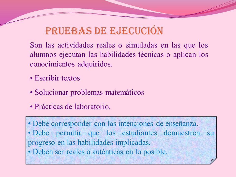 PRUEBAS DE EJECUCIÓN