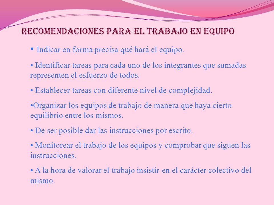 RECOMENDACIONES PARA EL TRABAJO EN EQUIPO