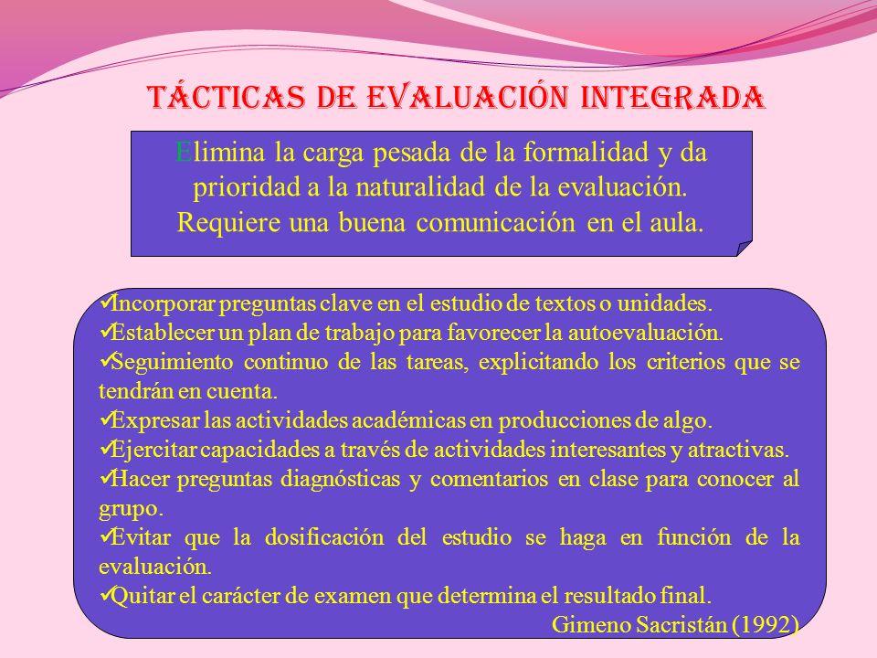 TÁCTICAS DE EVALUACIÓN INTEGRADA