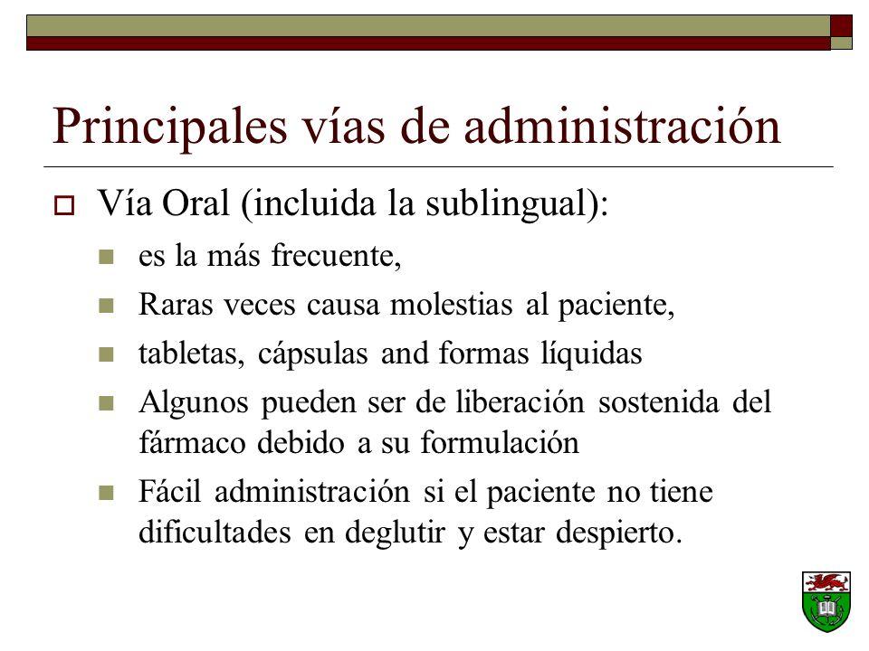 Principales vías de administración