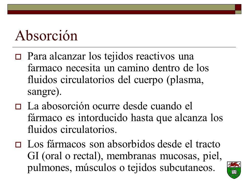 Absorción Para alcanzar los tejidos reactivos una farmaco necesita un camino dentro de los fluidos circulatorios del cuerpo (plasma, sangre).