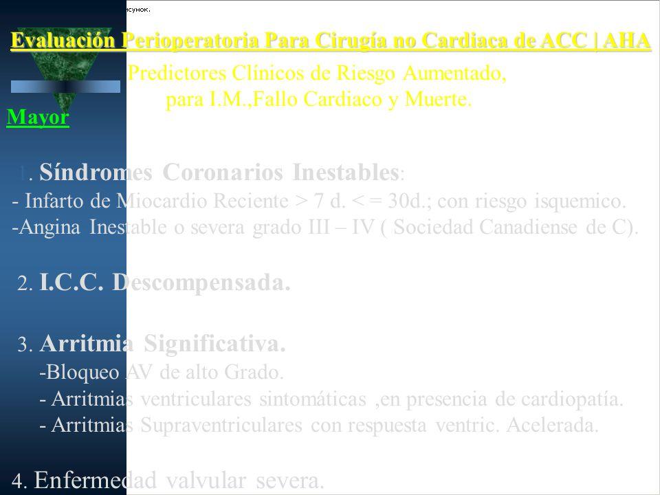 Evaluación Perioperatoria Para Cirugía no Cardiaca de ACC | AHA