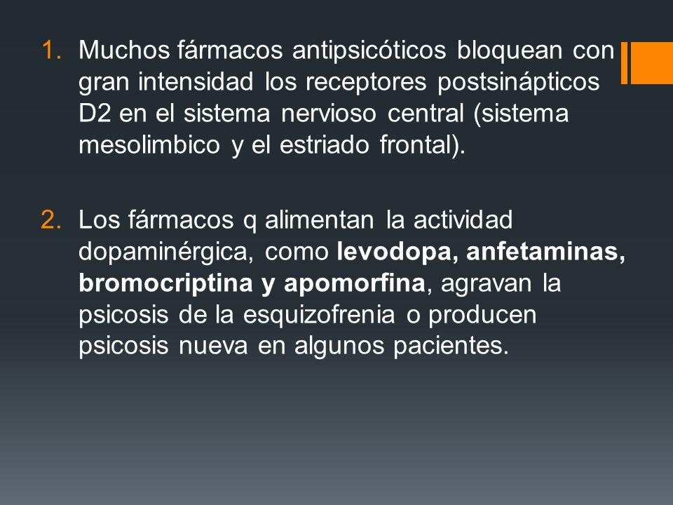 Muchos fármacos antipsicóticos bloquean con gran intensidad los receptores postsinápticos D2 en el sistema nervioso central (sistema mesolimbico y el estriado frontal).