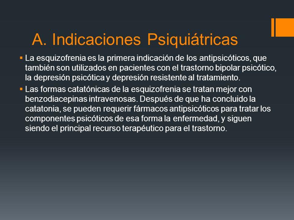 A. Indicaciones Psiquiátricas