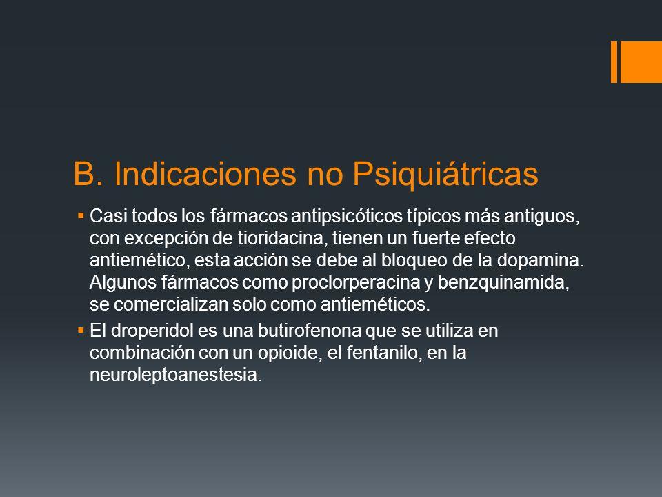 B. Indicaciones no Psiquiátricas