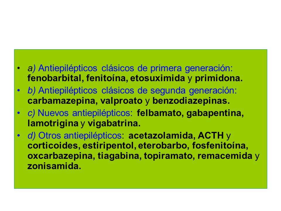 a) Antiepilépticos clásicos de primera generación: fenobarbital, fenitoína, etosuximida y primidona.